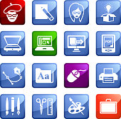 Graphic Designer and Computer Illustration sixteen vector icon set stickers