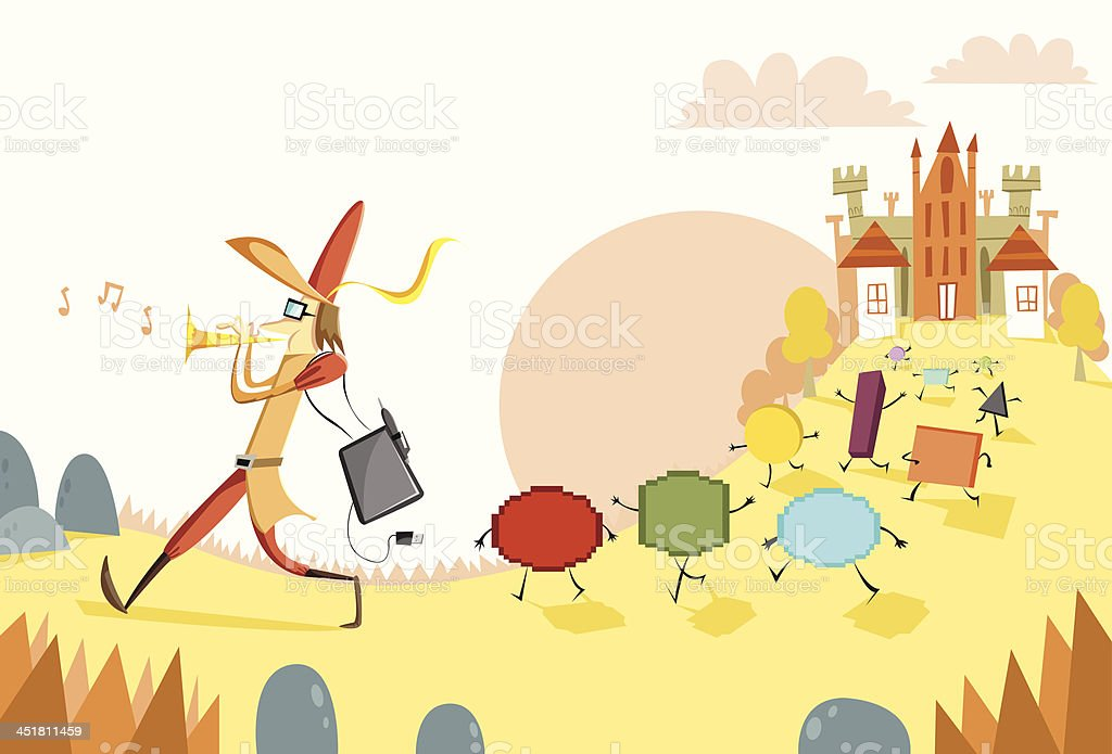 Graphic designer as the Pied Piper of Hamelin vector art illustration