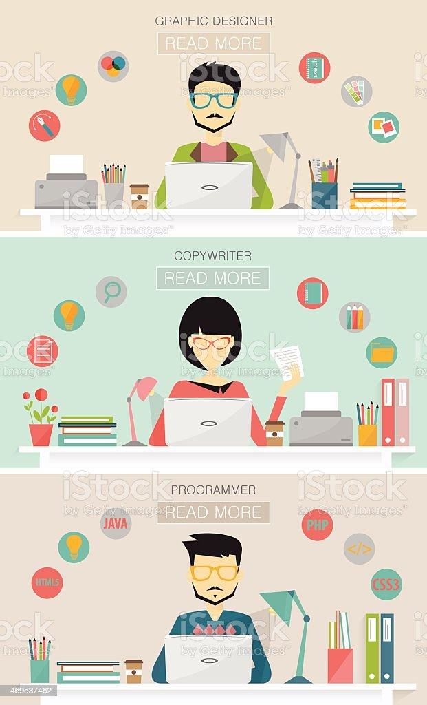 graphic designer, copywriter, programmer, banners vector art illustration