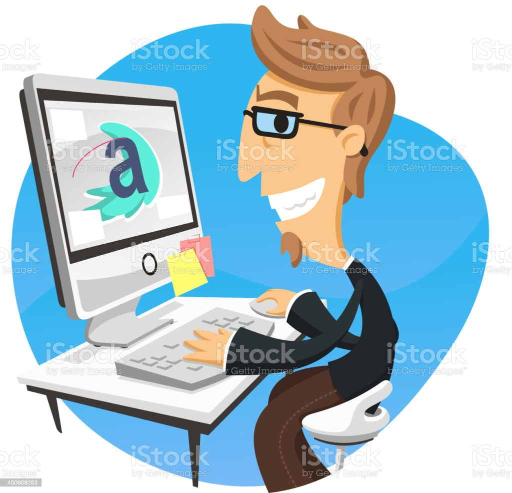 Graphic Designer Working Computer vector art illustration