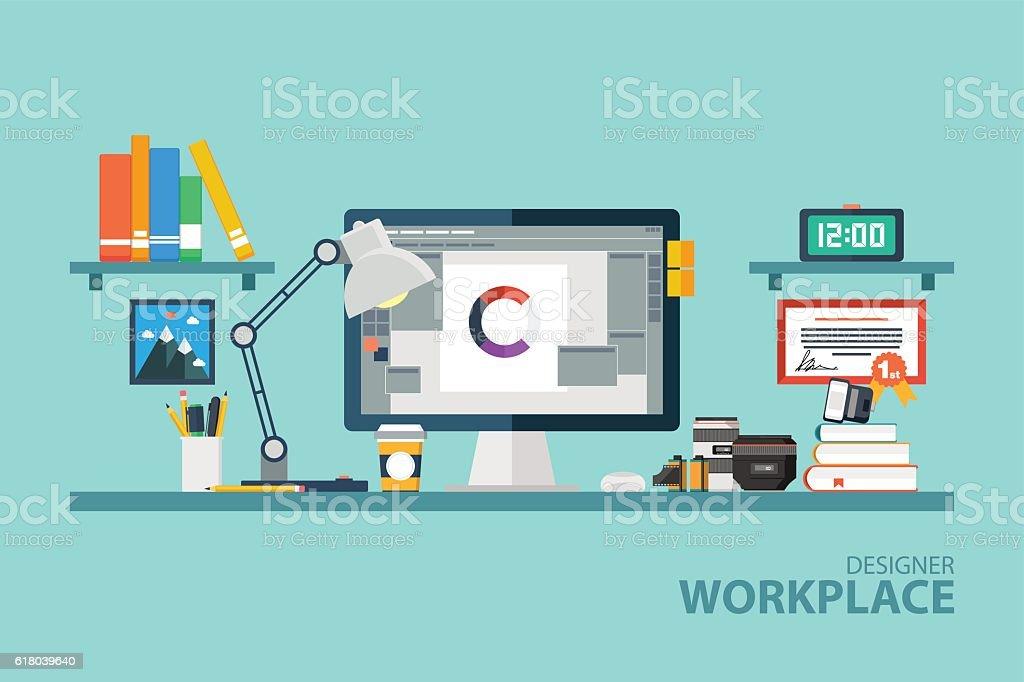 Graphic designer workplace flat design vector illustration. vector art illustration