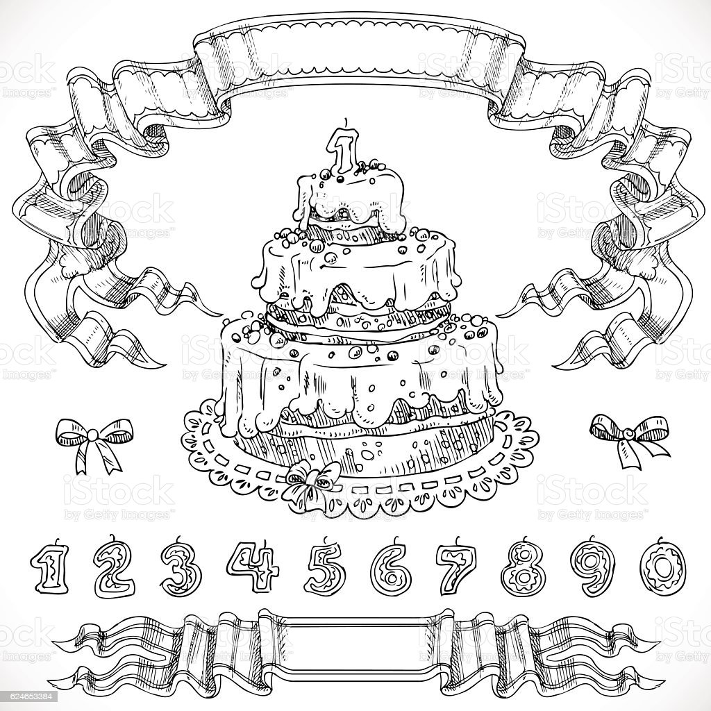 Graphic drawing birthday cake and decorative design elements can vector art illustration