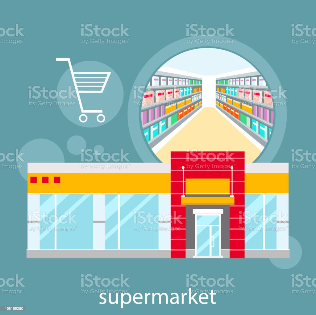 Graphic drawing of a supermarket food store vector art illustration
