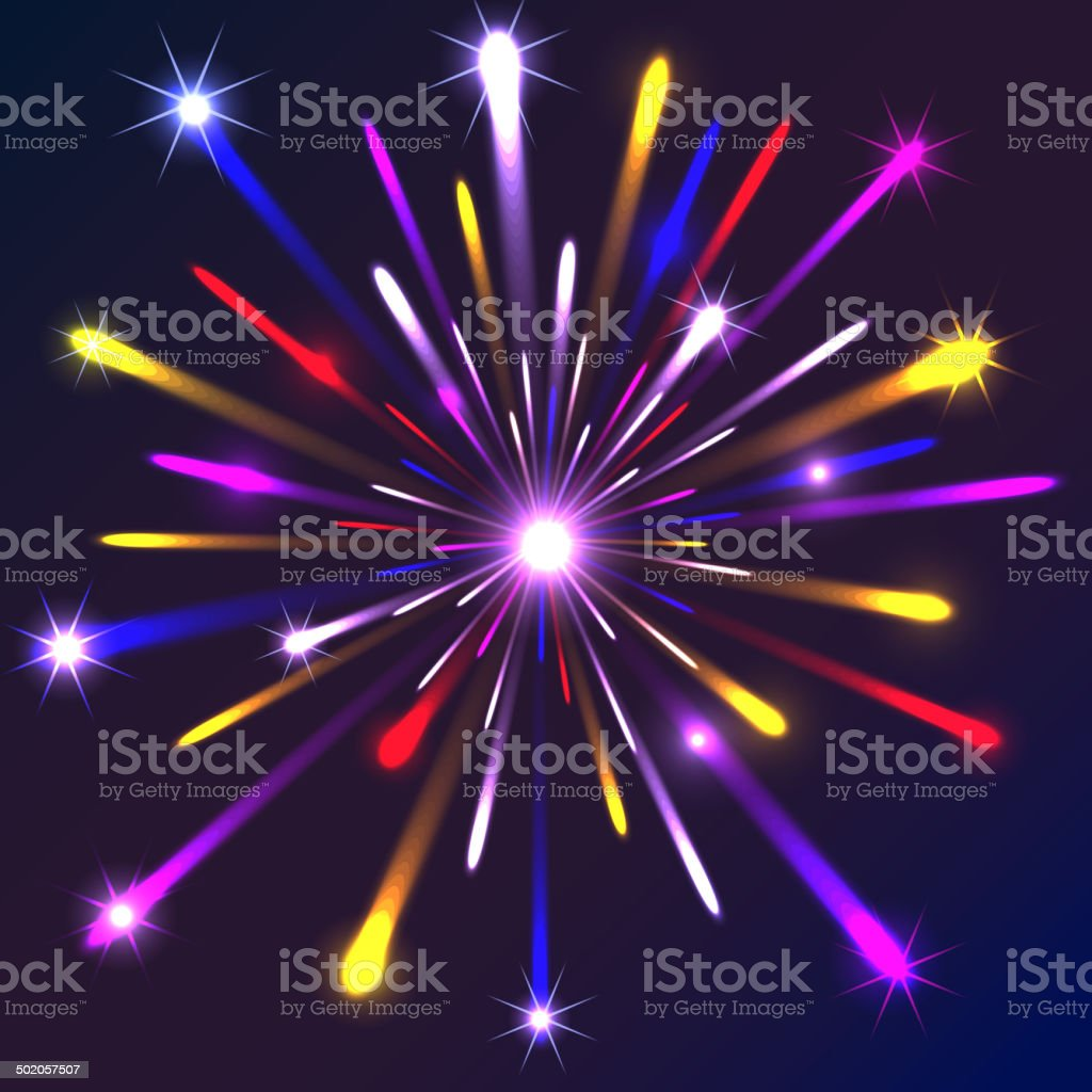 Graphic fireworks in black background royalty-free stock vector art