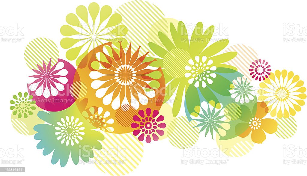 Graphic Flowers Background vector art illustration
