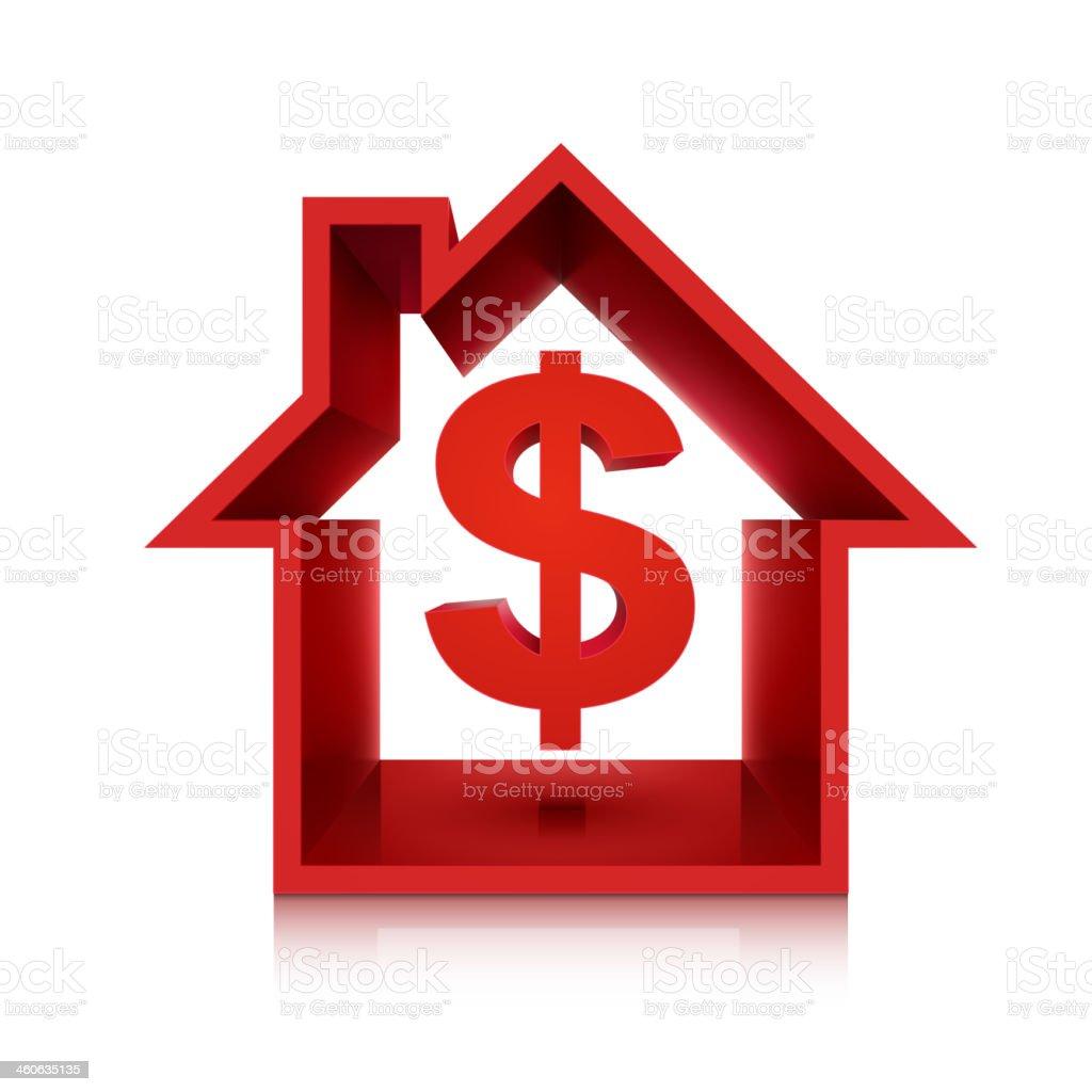 graphic for real estate business, 3d dollar symbol vector art illustration