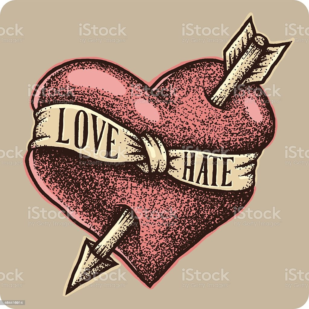 Graphic heart with arrow and ribbon vector art illustration