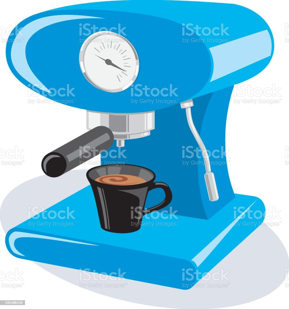 Graphic icon of a blue espresso machine with a black cup vector art illustration