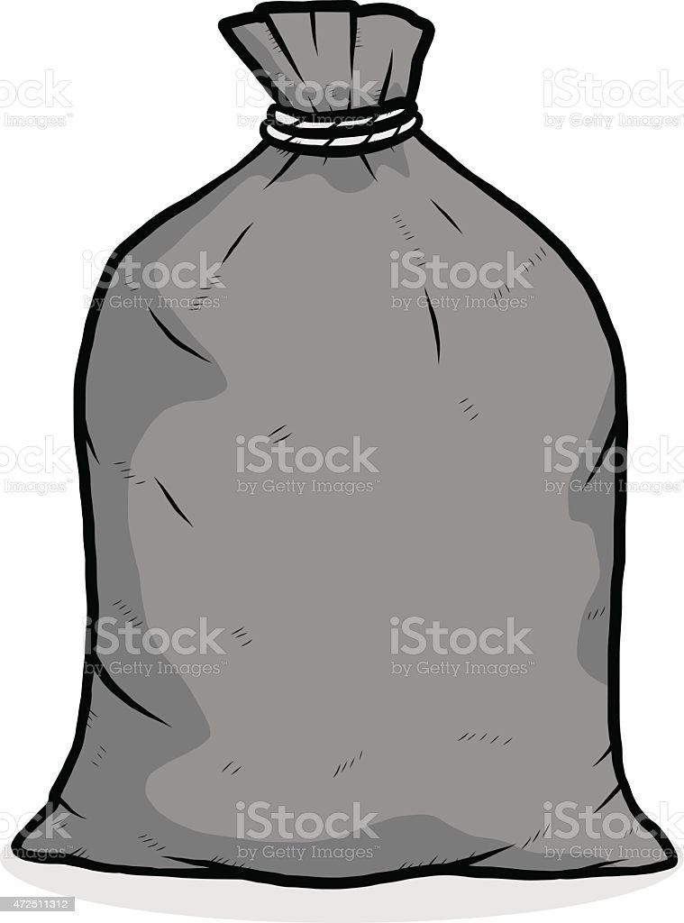 Graphic illustration of a black garbage bag vector art illustration