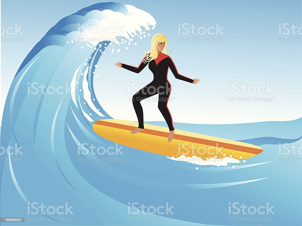 Graphic illustration of a lady on a surfboard on waves royalty-free stock vector art