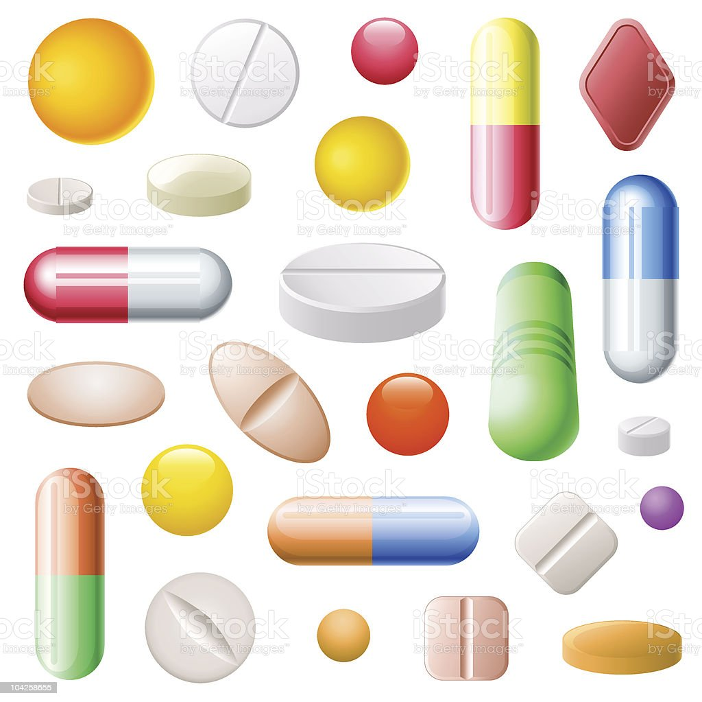 Graphic illustration of colorful pills on white background royalty-free stock vector art