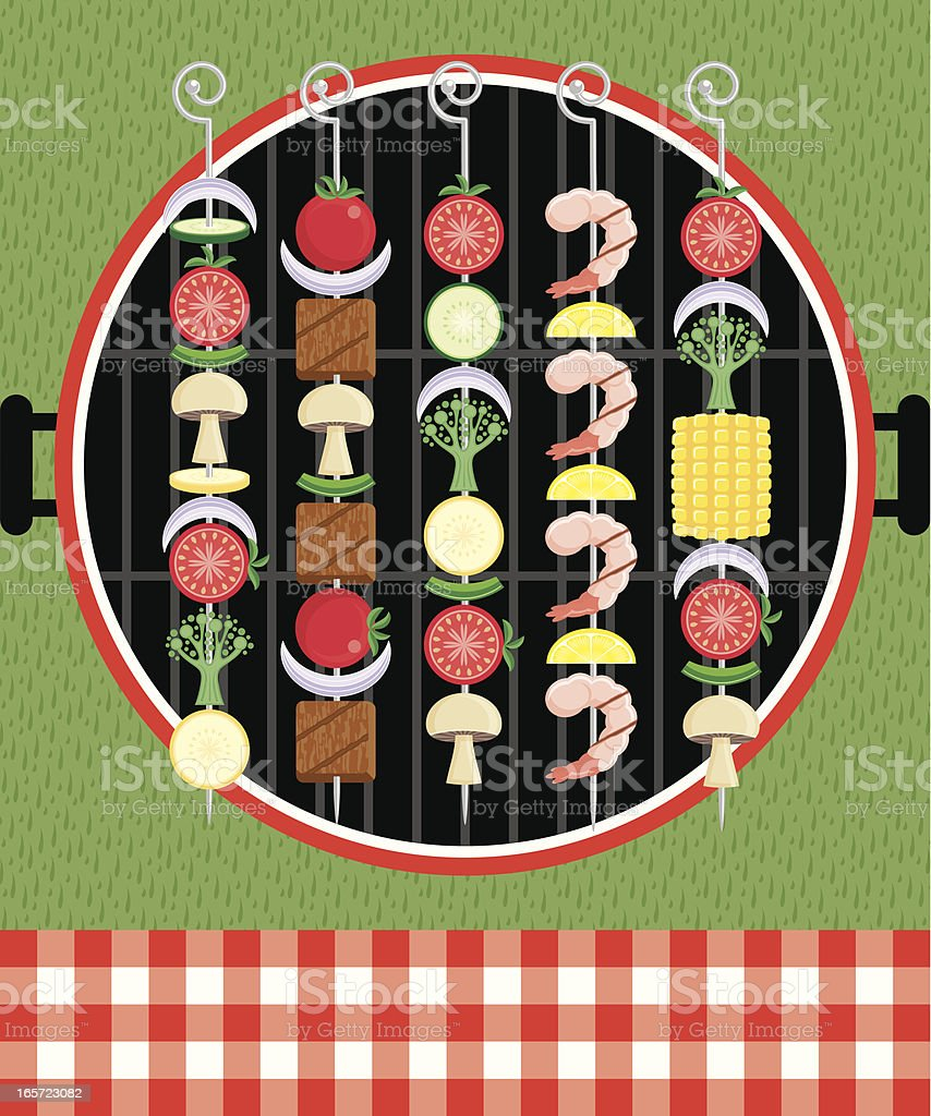Graphic illustration of kabobs on the grill at a picnic vector art illustration