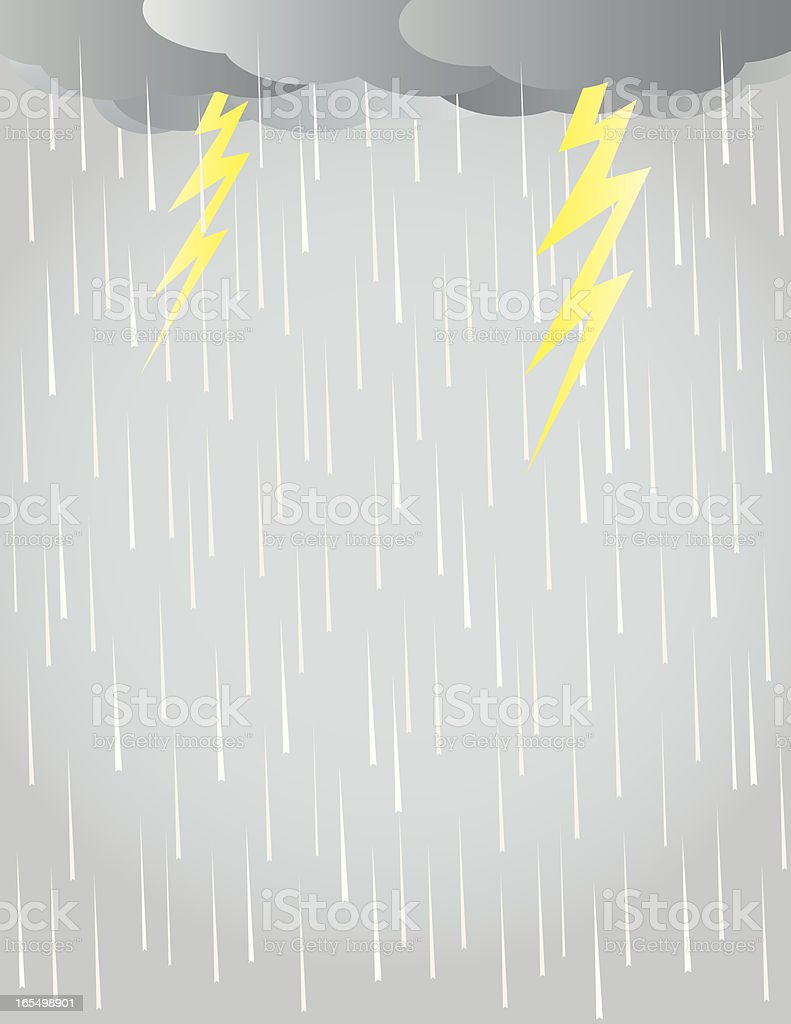 Graphic illustration of rain, clouds and lightning bolts vector art illustration