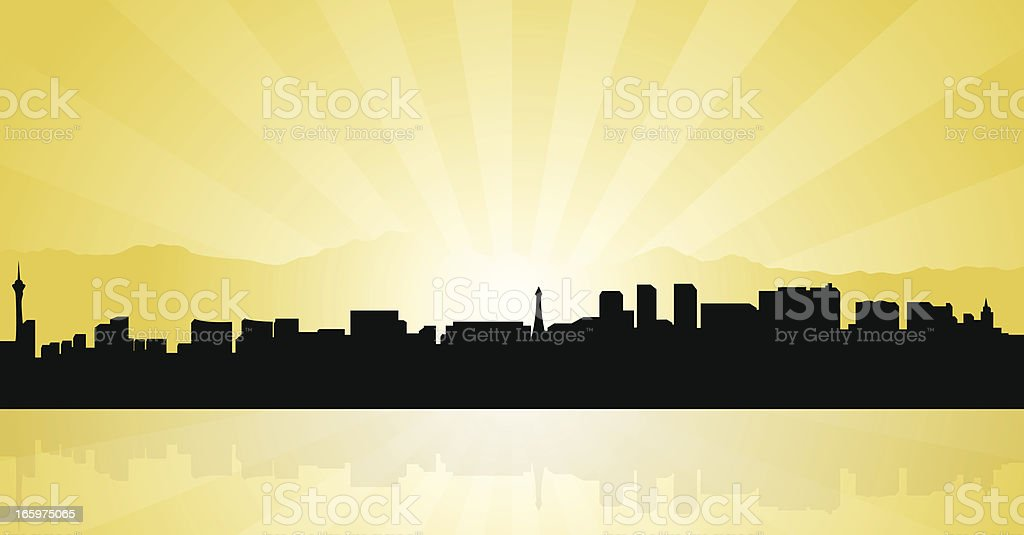 Graphic illustration of the Las Vegas skyline in silhouette royalty-free stock vector art