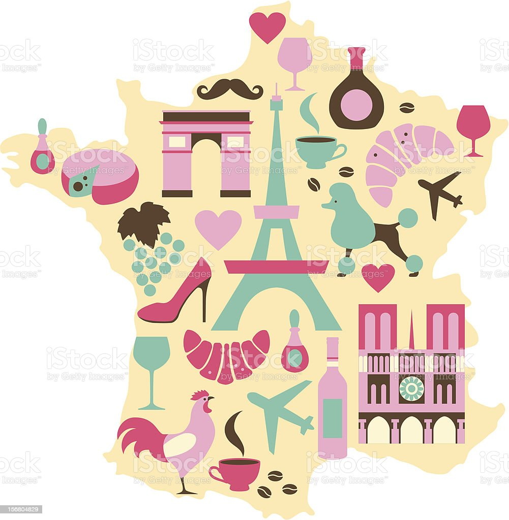 Graphic illustration of the map and symbols of France vector art illustration