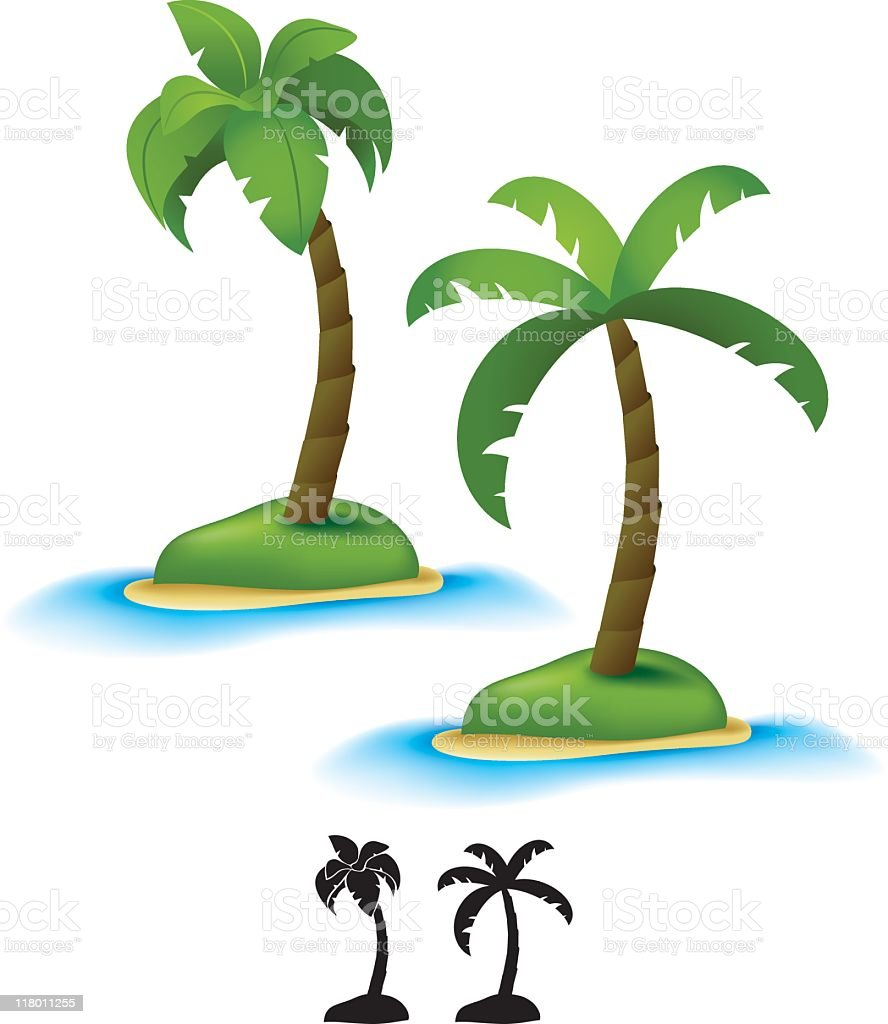 Graphic illustration of two palm trees on white background royalty-free stock vector art
