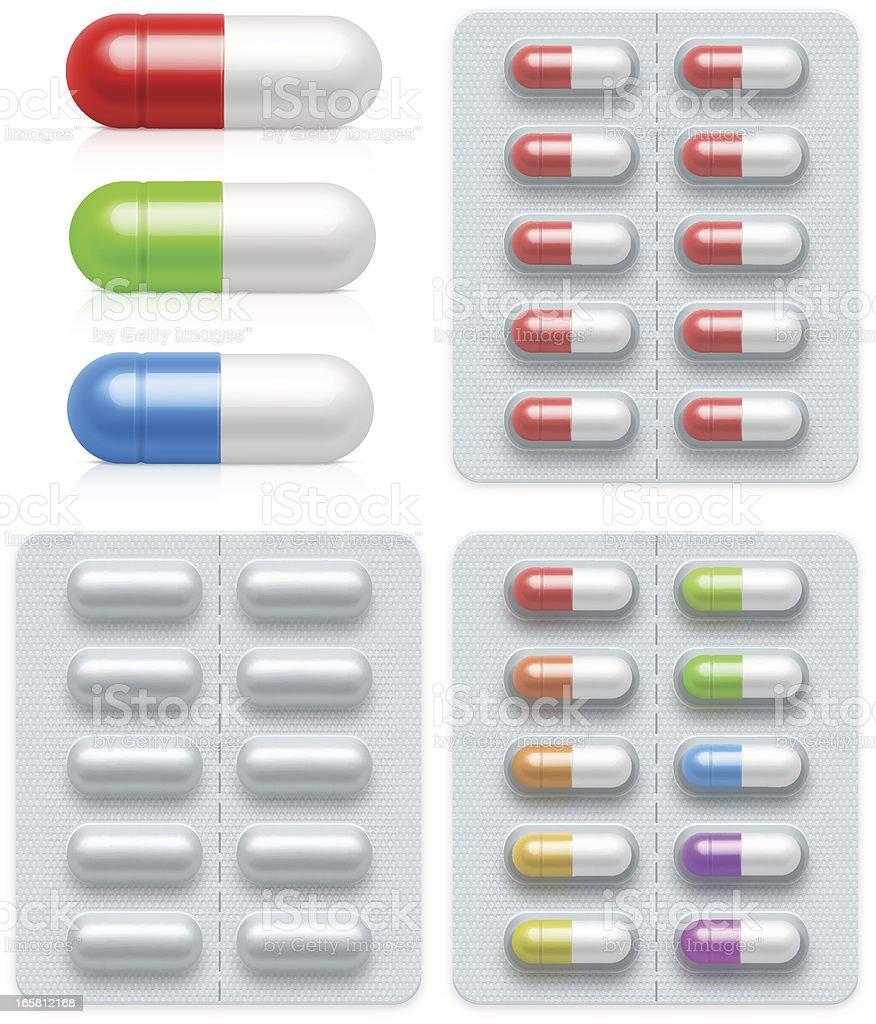 Graphic illustrations of medicine pills vector art illustration