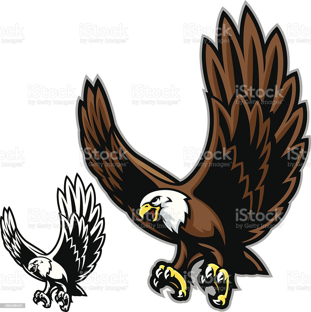 Graphic image in color and black-and-white of an eagle vector art illustration