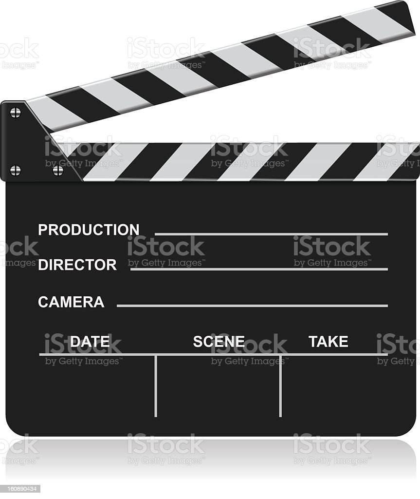 Graphic image of a blank film slate stock photo