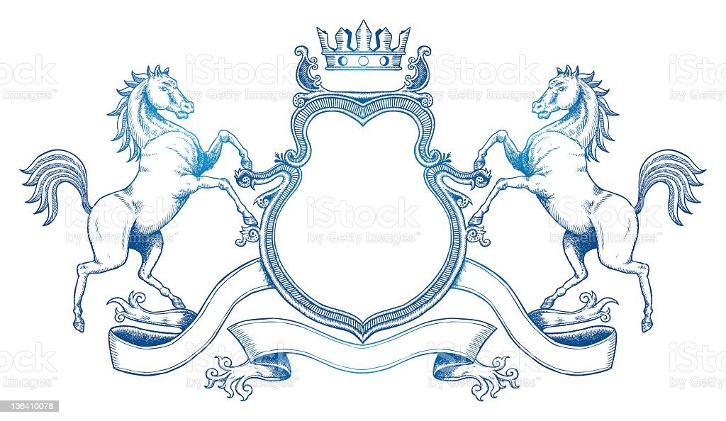 Graphic image of a customizable coat of arms in blue royalty-free stock vector art