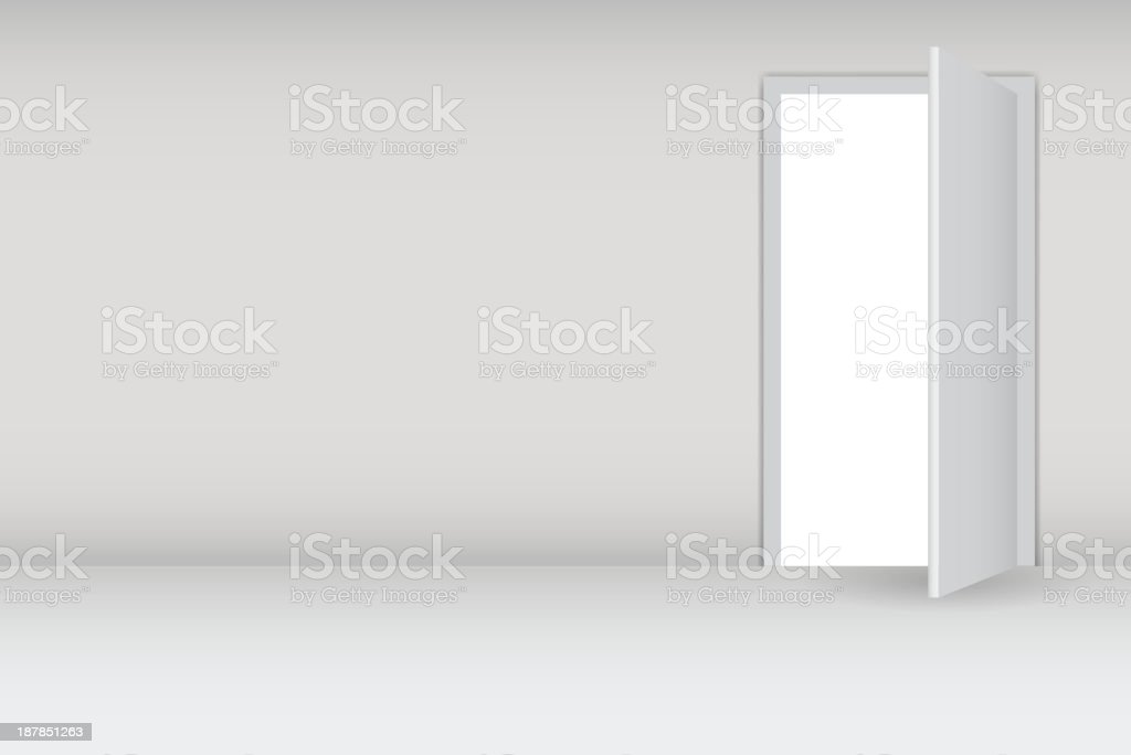 Graphic image of a door being opened vector art illustration
