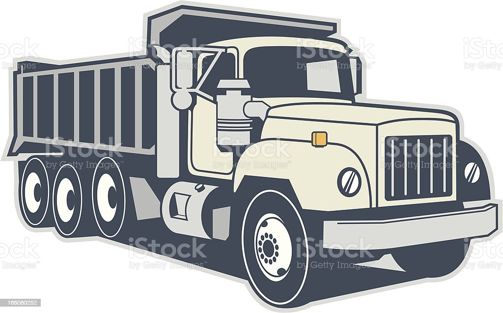 Graphic image of a dump truck on a white background vector art illustration