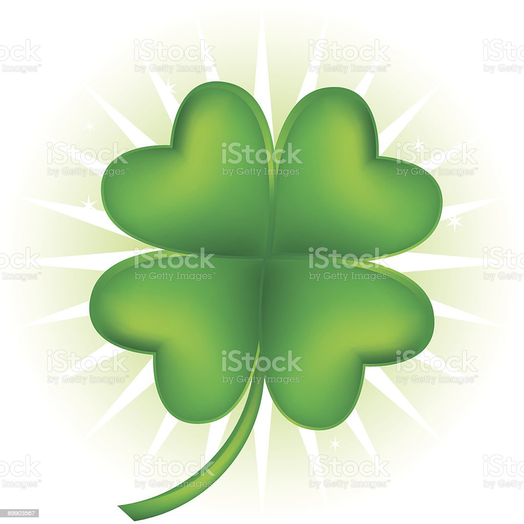 Graphic image of a four leaf clover vector art illustration