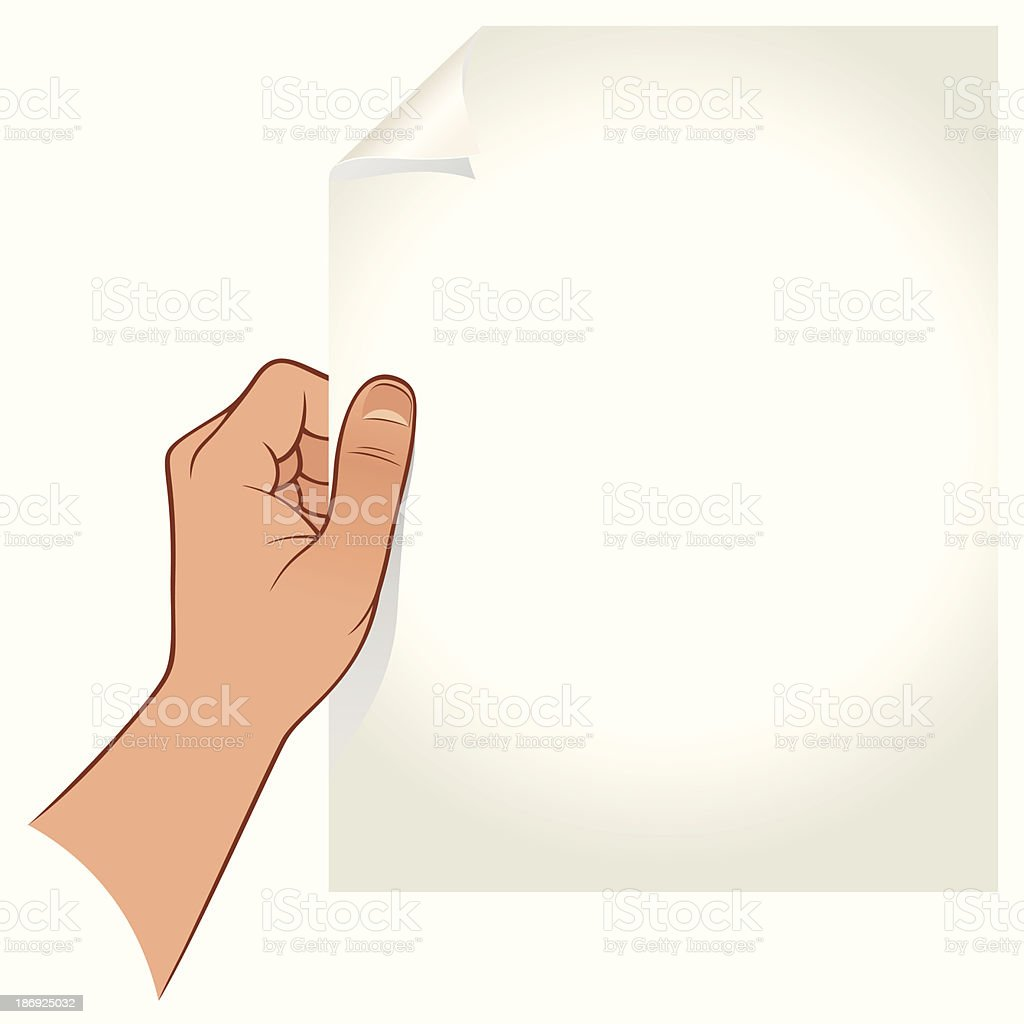 Graphic image of a hand holding a blank piece of paper vector art illustration