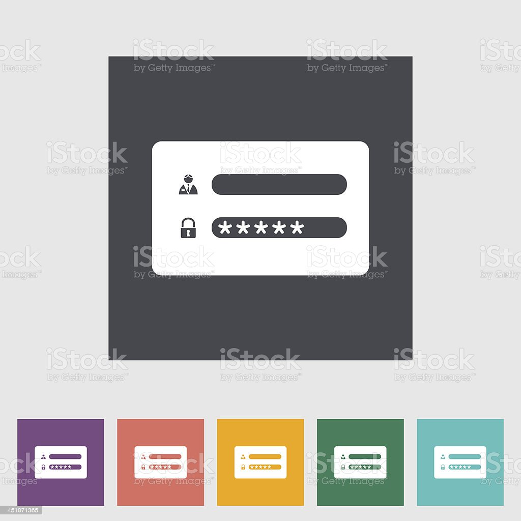 Graphic image of a login screen in different colors vector art illustration