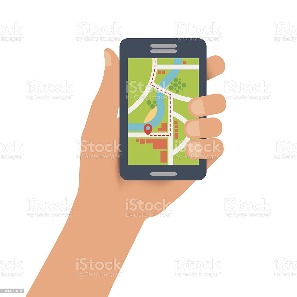 Graphic Image of a Map on Handheld Digital Device royalty-free stock vector art