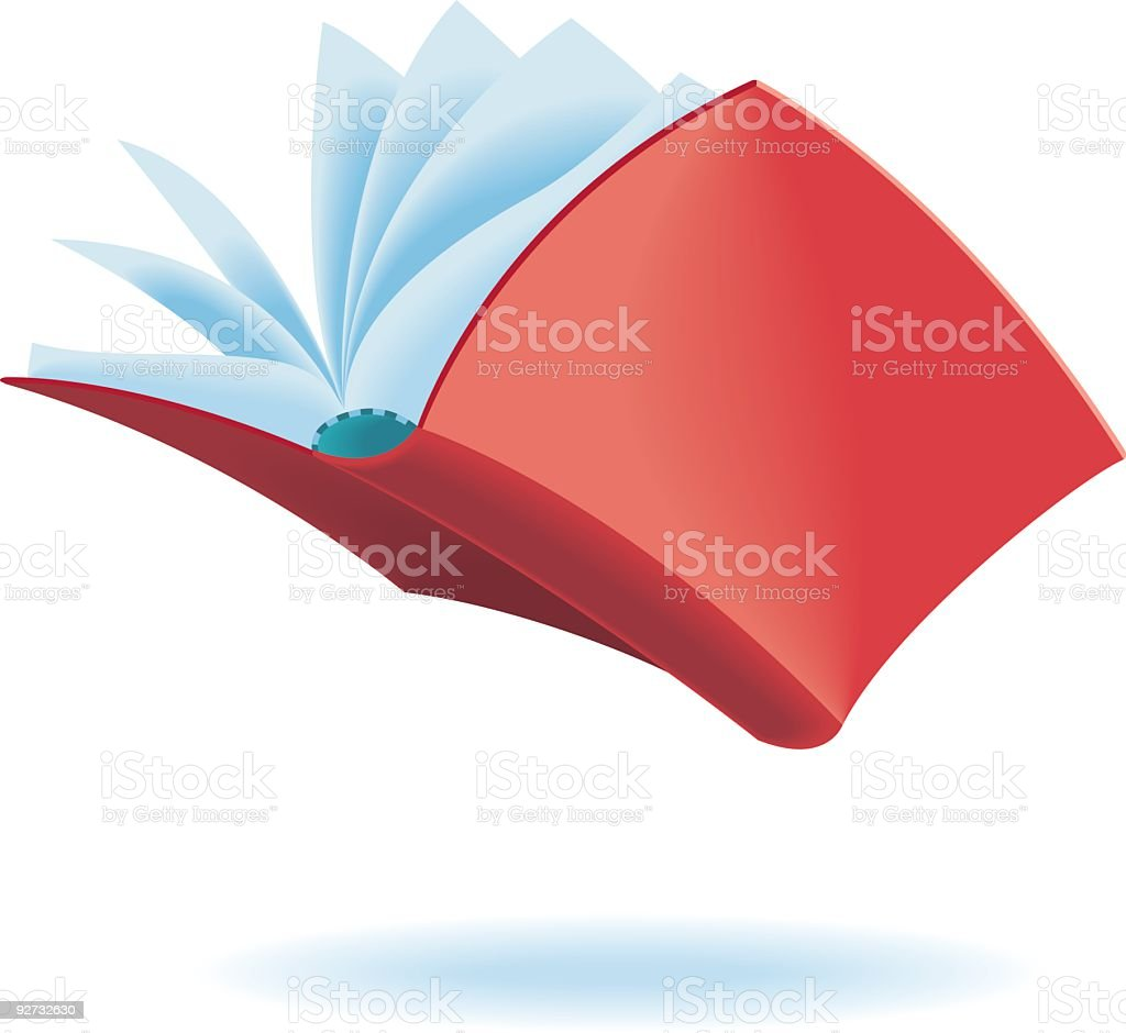 Graphic image of a red book floating in the air royalty-free stock vector art