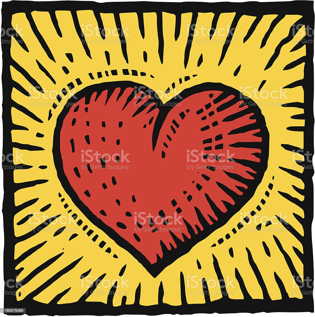 Graphic image of a red heart on a yellow background vector art illustration