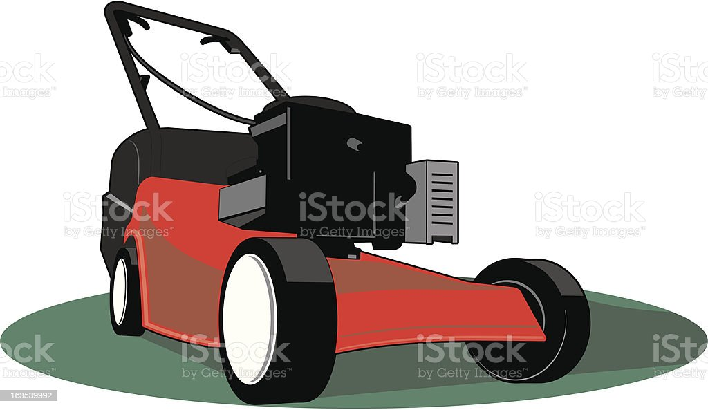 Graphic image of a red lawnmower royalty-free stock vector art