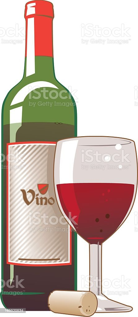 A graphic image of a red wine bottle with a cork and glass royalty-free stock vector art