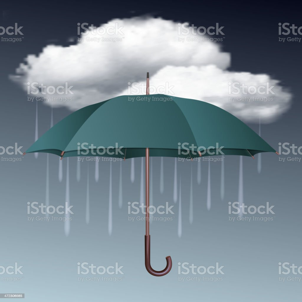 Graphic image of an umbrella under a rain cloud vector art illustration