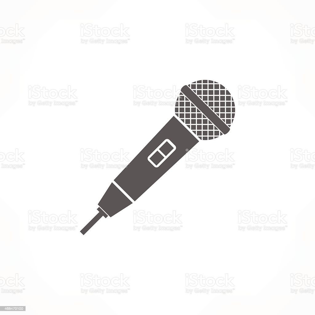 Graphic image of black microphone on white background vector art illustration