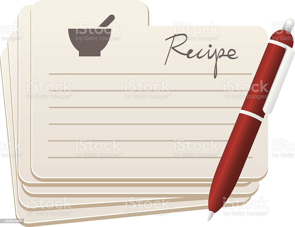 Graphic image of blank recipe cards and a pen royalty-free stock vector art