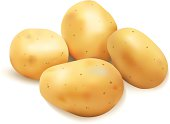 Graphic image of four potatoes on white background