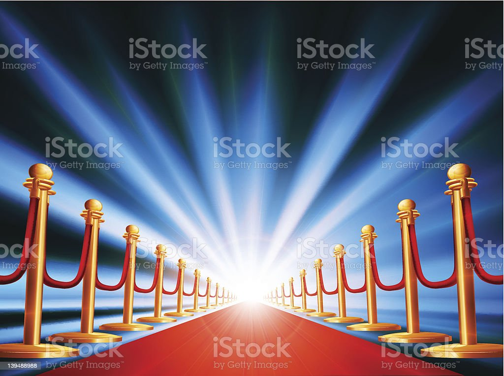 Graphic image of red carpet entrance and spotlight royalty-free stock vector art