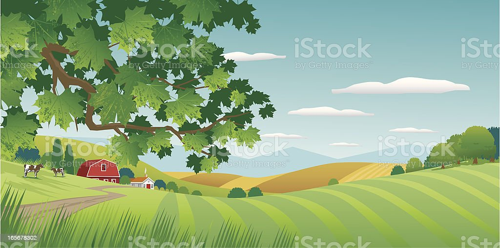 Graphic image of sunny countryside vector art illustration