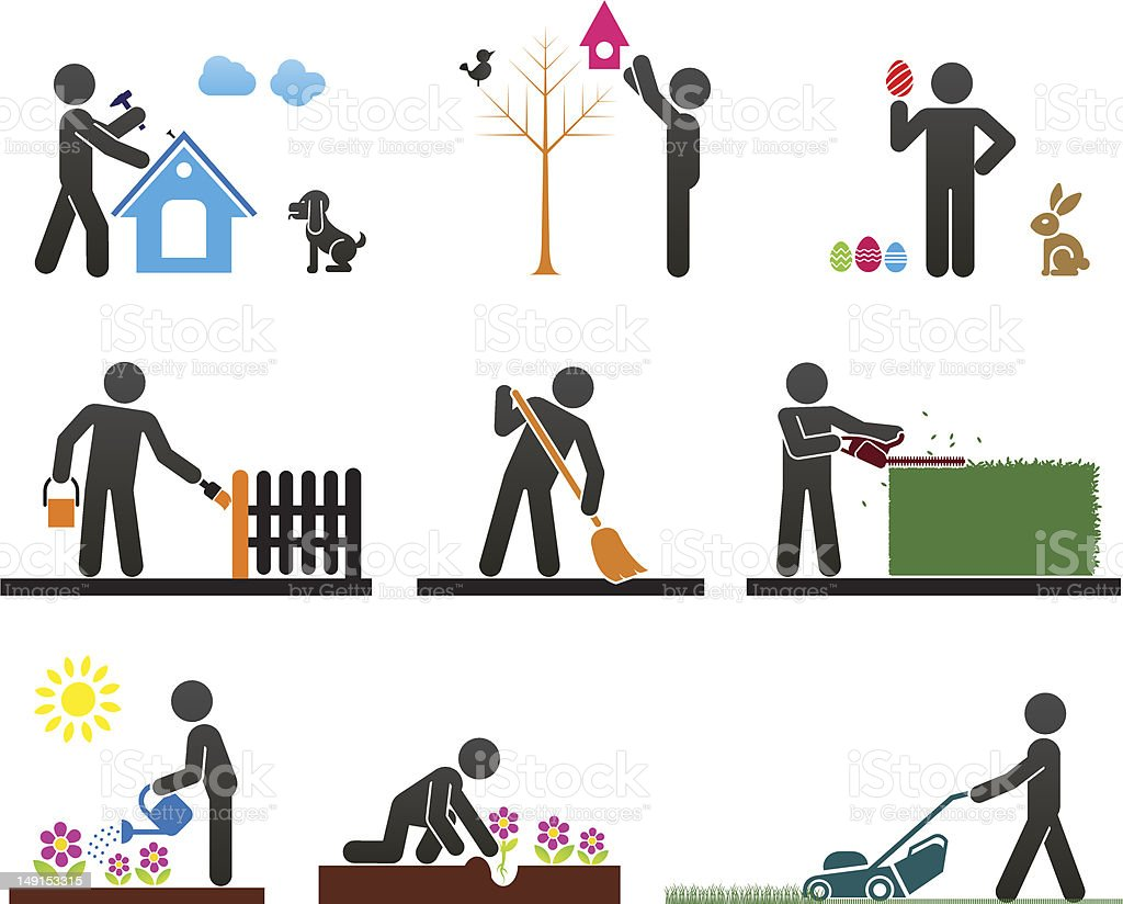Graphic images of a person doing different chores vector art illustration