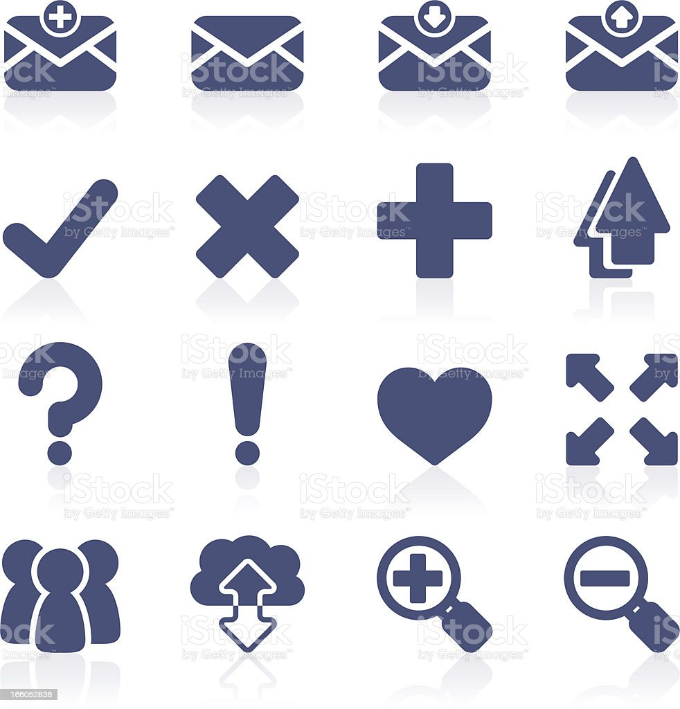 Graphic images of blue interface icons in rows vector art illustration