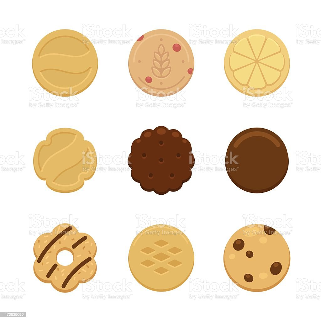 Graphic images of multiple different types of cookies vector art illustration
