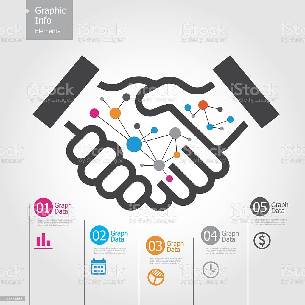 Graphic Info Elements - Handshake vector art illustration