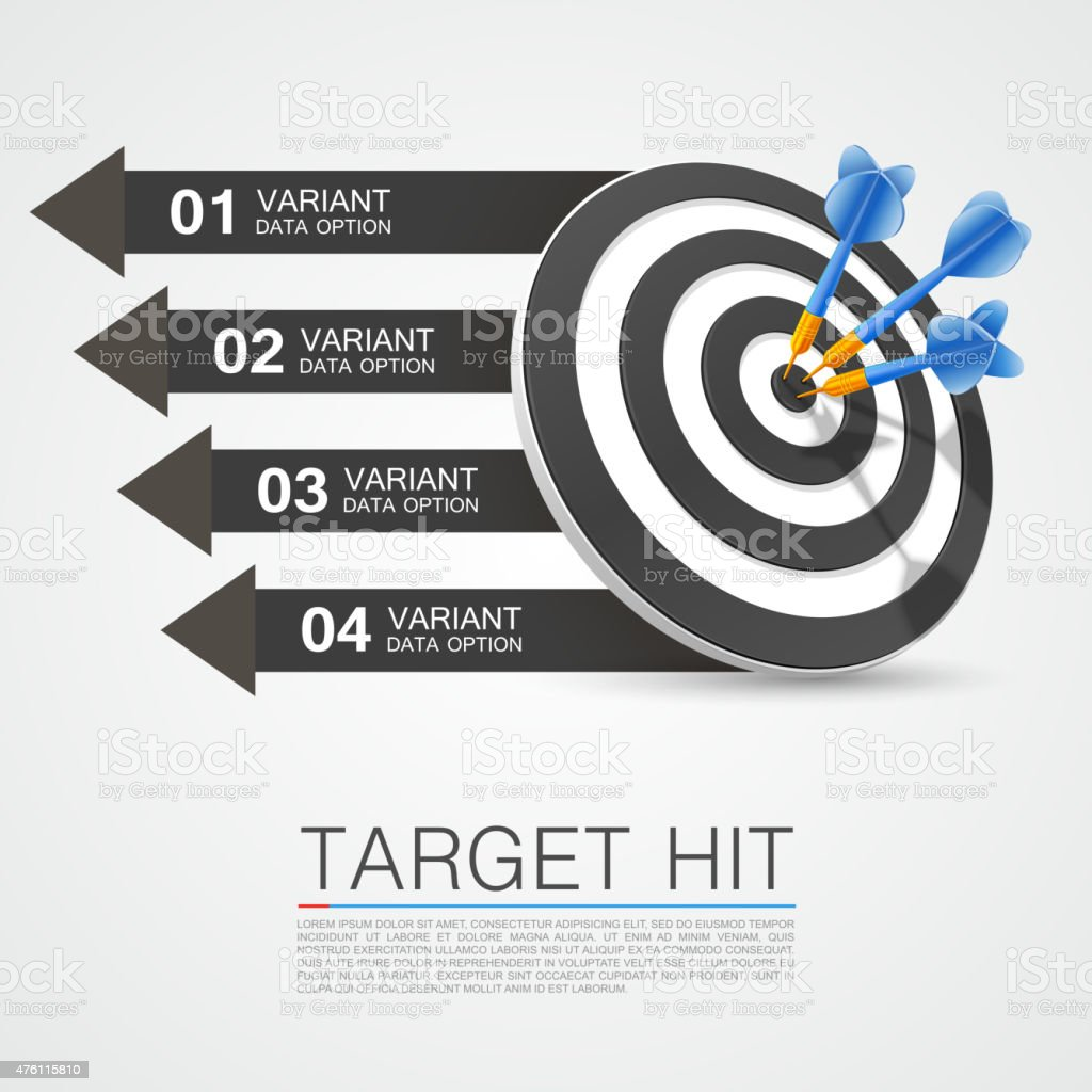 Graphic information target with darts vector art illustration