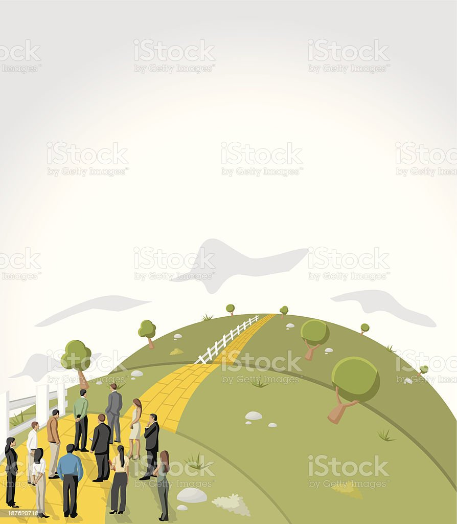 Graphic of a business team looking down a yellow brick road royalty-free stock vector art