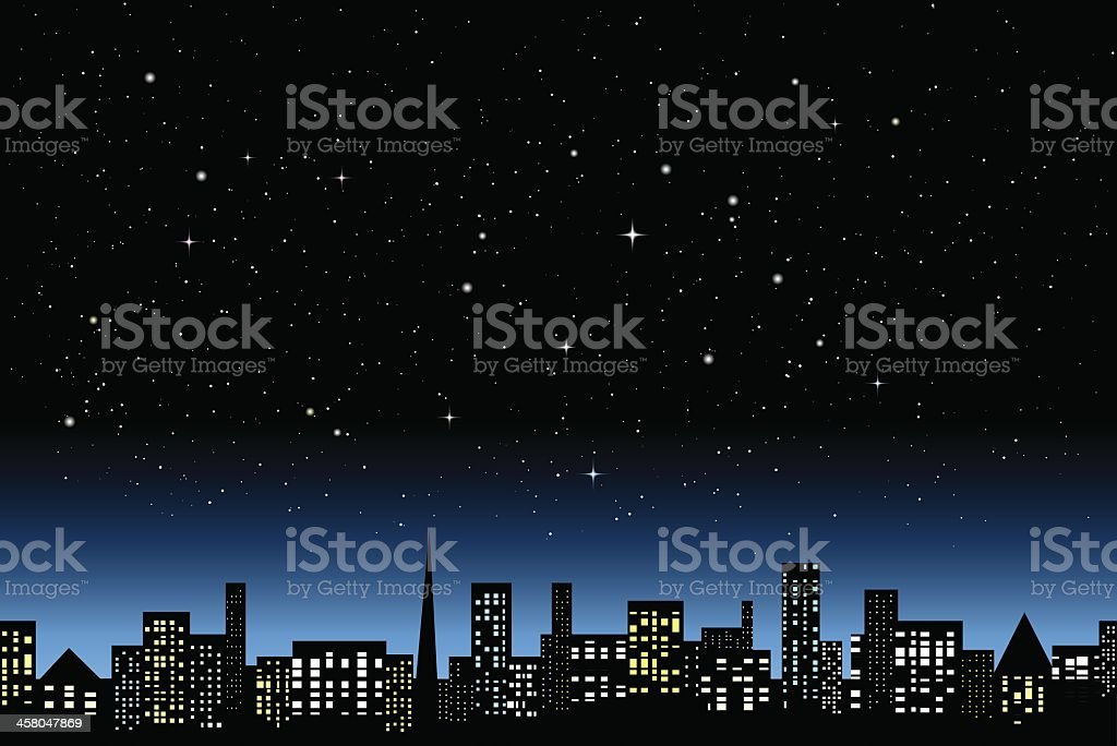 Graphic of a city a night with lit up skyscrapers vector art illustration
