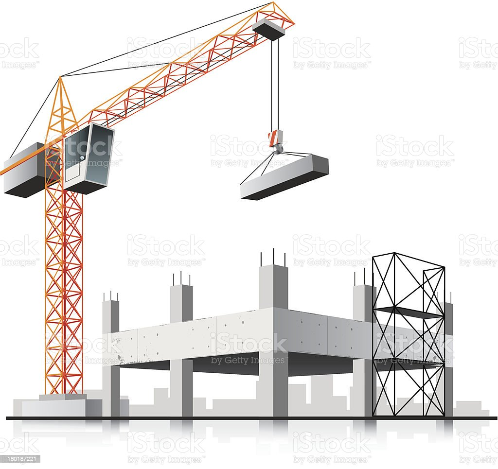 Graphic of a crane working on building construction vector art illustration