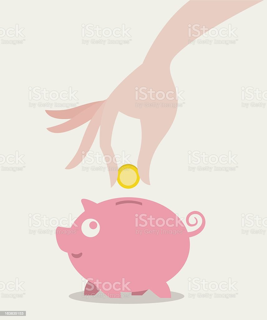 Graphic of a hand placing a coin in a pink piggy bank royalty-free stock vector art