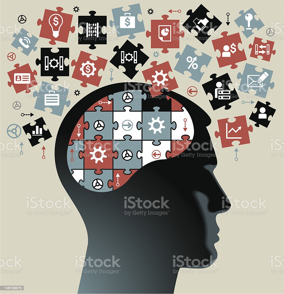 Graphic of a head with jigsaw pieces coming out of it royalty-free stock vector art